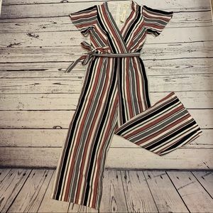 Monteau Los Angeles Striped Wide Open leg Jumpsuit